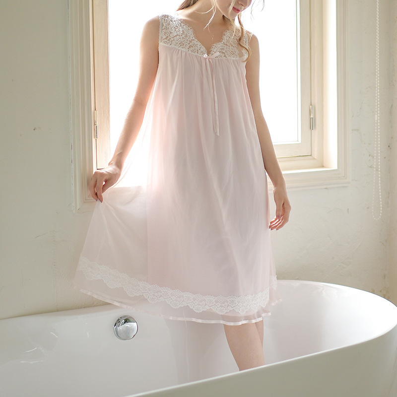 Summer   Nightgowns     Sleepshirts   Women Sleepwear Sleeveless V-Neck Eyelash Lace Sex Night Wear Sleeping Dress Vintage Nightdress