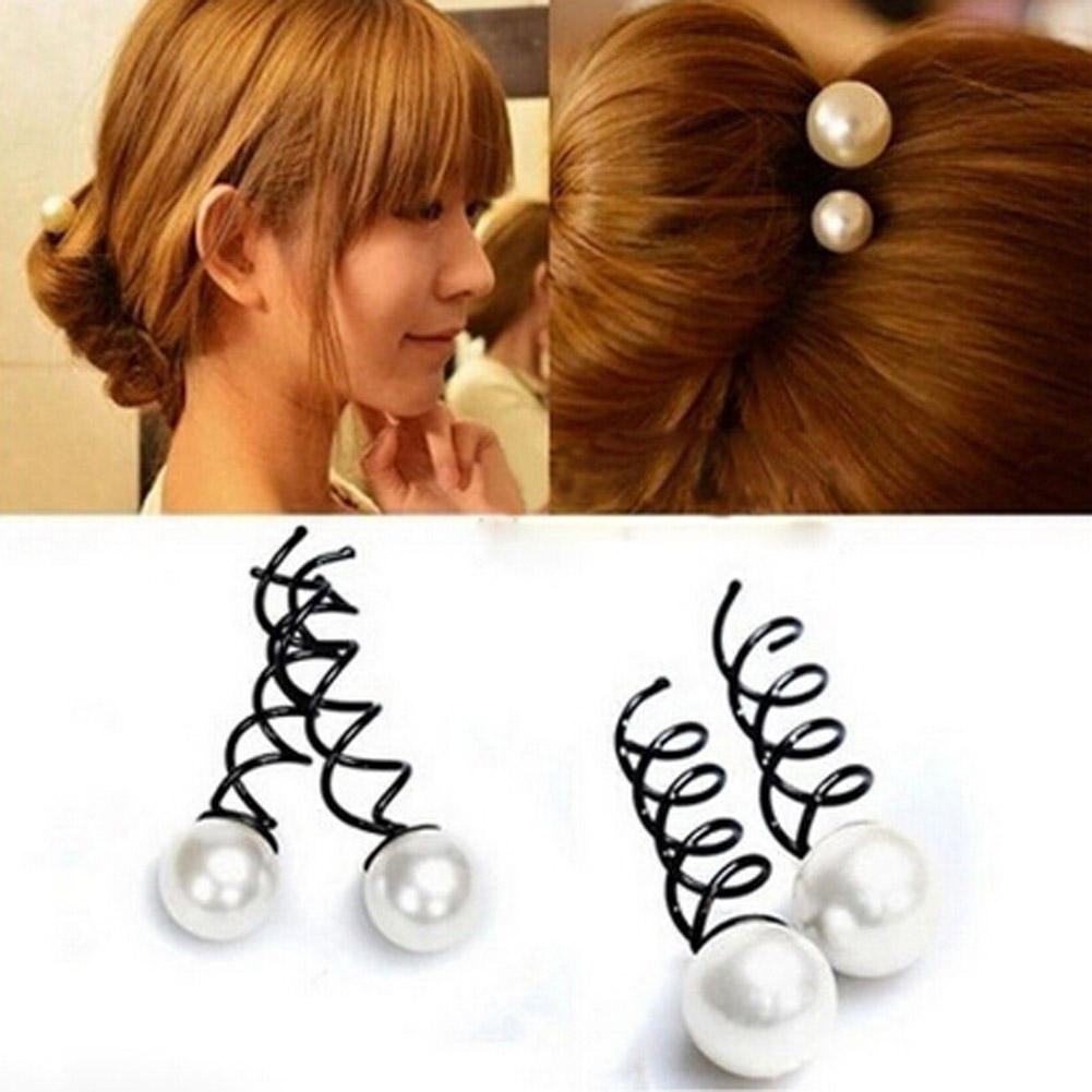 Casual Simple Special Pearl Screw Accessories Selling Novelty Hair Clips 2017 2pcs/pack Faddish Trendy Charm
