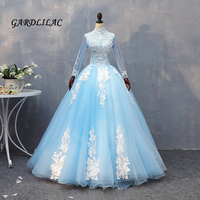 Hot Sale High Neck Quinceanera Dresses 2019 Long Sleeve Light Blue Ball Gown Long Prom Gown Puffy Sweet 16 Dress For 15 Years