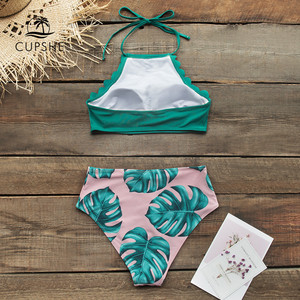 Image 2 - CUPSHE Teal And Palm Print High neck Halter Bikini Sets Sexy Swimsuit Two Pieces Swimwear Women 2020 Beach Bathing Suits Biquini