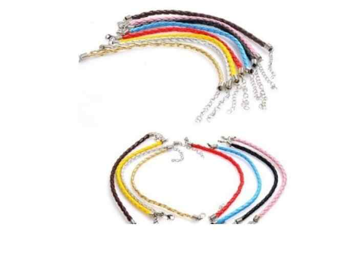 3.5MM Black color leather cord Bracelets with Lobster Claw Clasp and Extension Chain for Handmade bracelet 25cm 2 pieces/lot