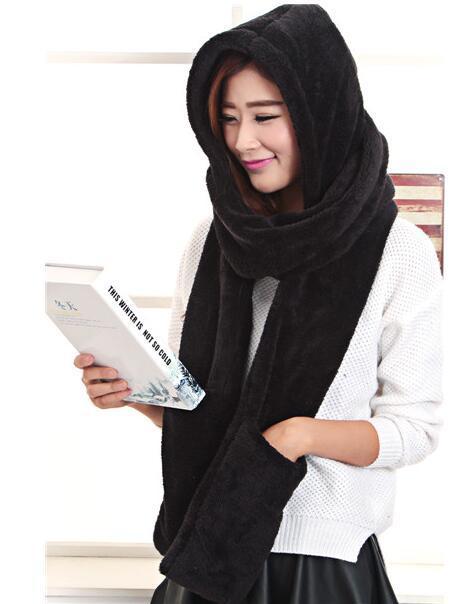 Женский шарф со шляпой и теплые перчатки костюм для мальчиков, футболка + штаны 3 в 1 с капюшоном шарф + перчатки 4 вида цветов большой шарф 260 см Бесплатная доставка
