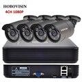Kit de Sistema de CCTV 4CH 1080 P 2.0 HDMI P2P ONVIF 4CH 1080 P NVR + 4 UNIDS 1080 P IP66 Al Aire Libre Cámara de Seguridad CCTV IP CÁMARA KIT