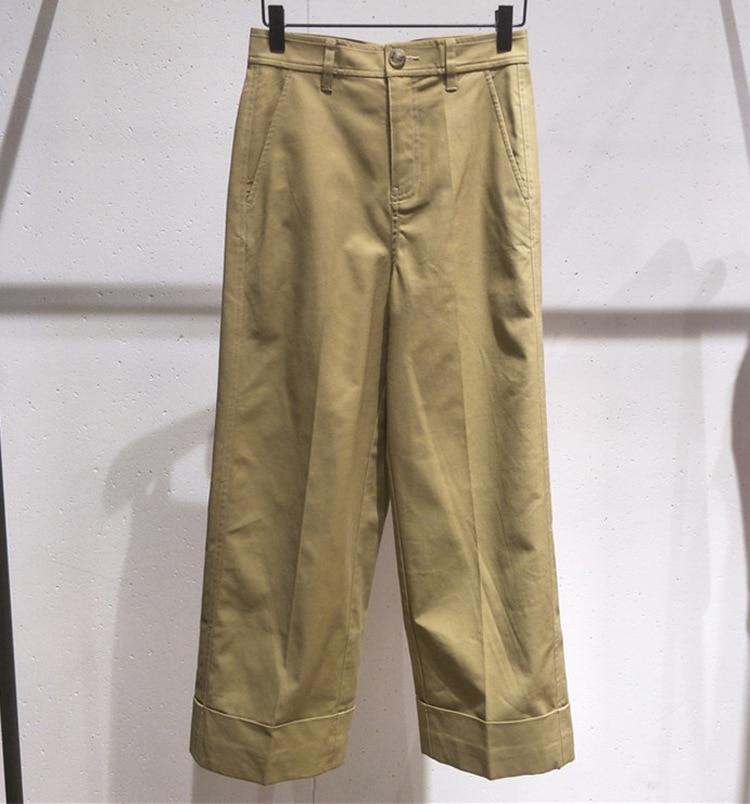 купить!  Осенние женские брюки с высокой талией 2019 Шикарные широкие брюки A616 Лучший!