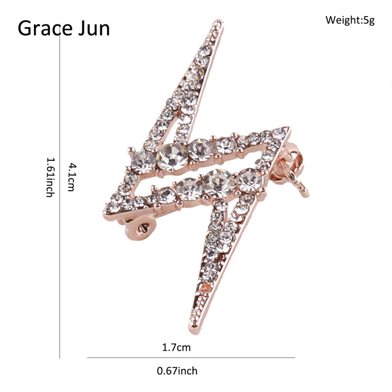 Grace Jun 2017 New Design Lightning Brooch for Gilrs Cute Rhinestone Alloy Brooch Pin Hijab Lapel Pin Accessories Good Gift