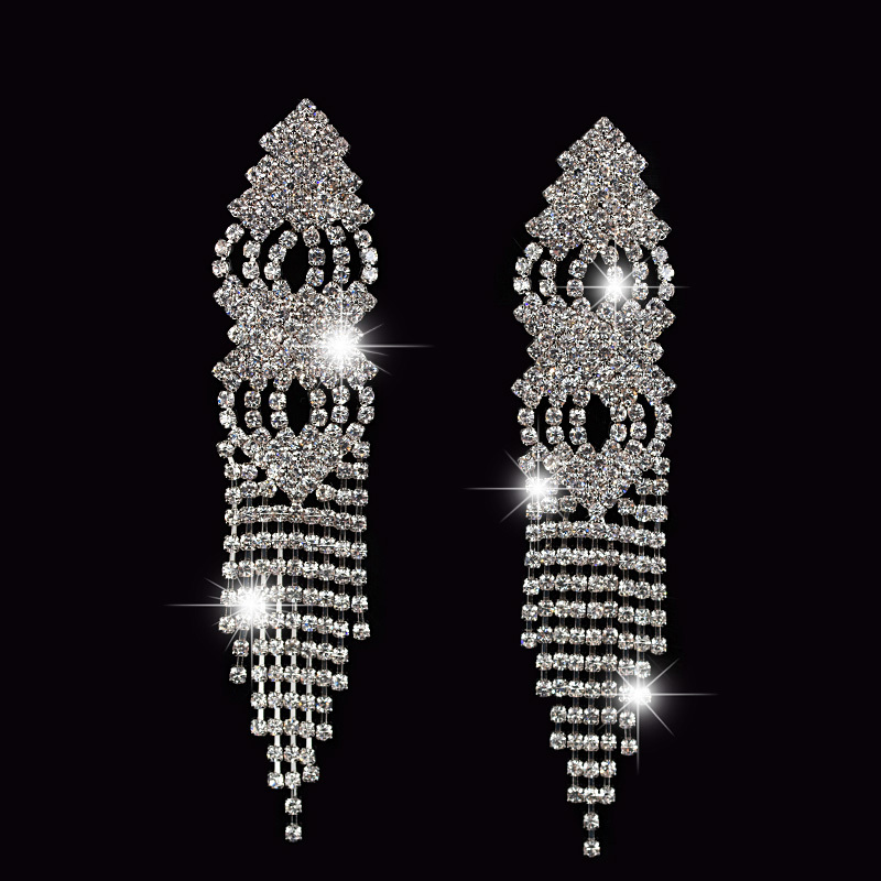 Fashion New rhinestone long tassel drop earrings sliver plated for women wedding jewelry #E041