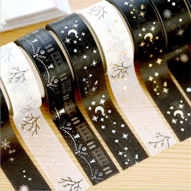 1 Unidad 15mm * 5 m estrellas doradas de plata Washi cinta álbum de recortes DIY cinta adhesiva personalizada Oficina adhesiva etiqueta engomada cinta adhesiva