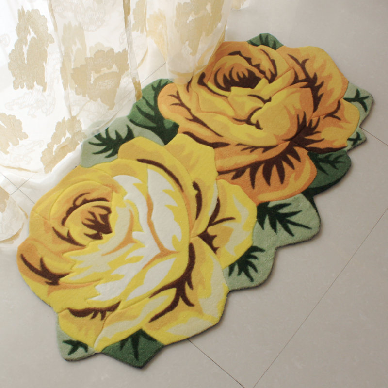 70cm120cm 2 Rose Carpet Floor Mat Color Printing Rug Flower Kitchen Area Rugs