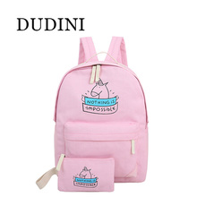 DUDINI Women Canvas Backpack Fashion Cute Travel Bags Animal Printing 2Pcs/Set New Preppy Style Teenager Girls