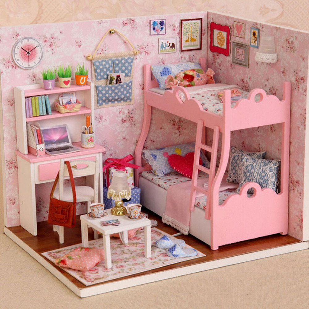 Subcluster 1 PCS Happy Series DIY Wooden Doll House Room Box Handmade 3D Miniature Dollhouse Wood Educational Toys Girl Gifts in Doll Houses from Toys Hobbies