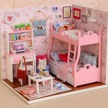 1 Set DIY Mini House Handmade Wooden Creative Room Model With Furniture Kid