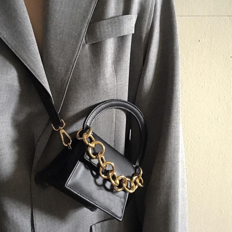 Bolso de mano de mujer con cadena de cuero PU 2018 verano otoño elegante bolso de hombro bolsos de mano bolsas de mensajero bolso de cuerpo cruzado-in Cubos from Maletas y bolsas    1