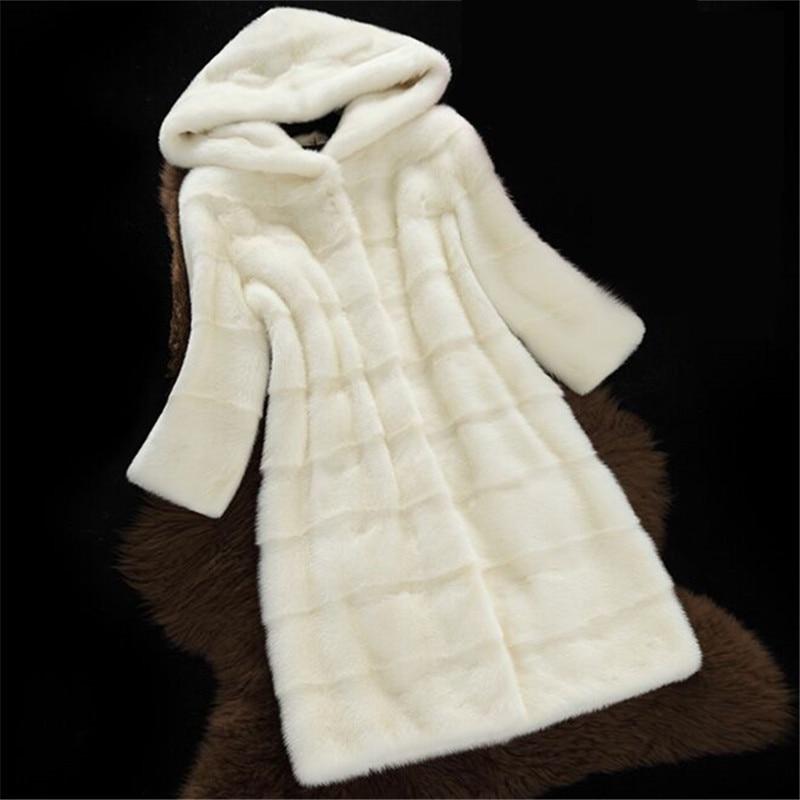 Des Manteau white Furry pink Manteaux Femme Fourrure Hiver Light Mode Automne Capuchon De Femmes Faux Long black Blue À Veste gray Cuir Rose Vestes Vison AIIx5Sw7qg