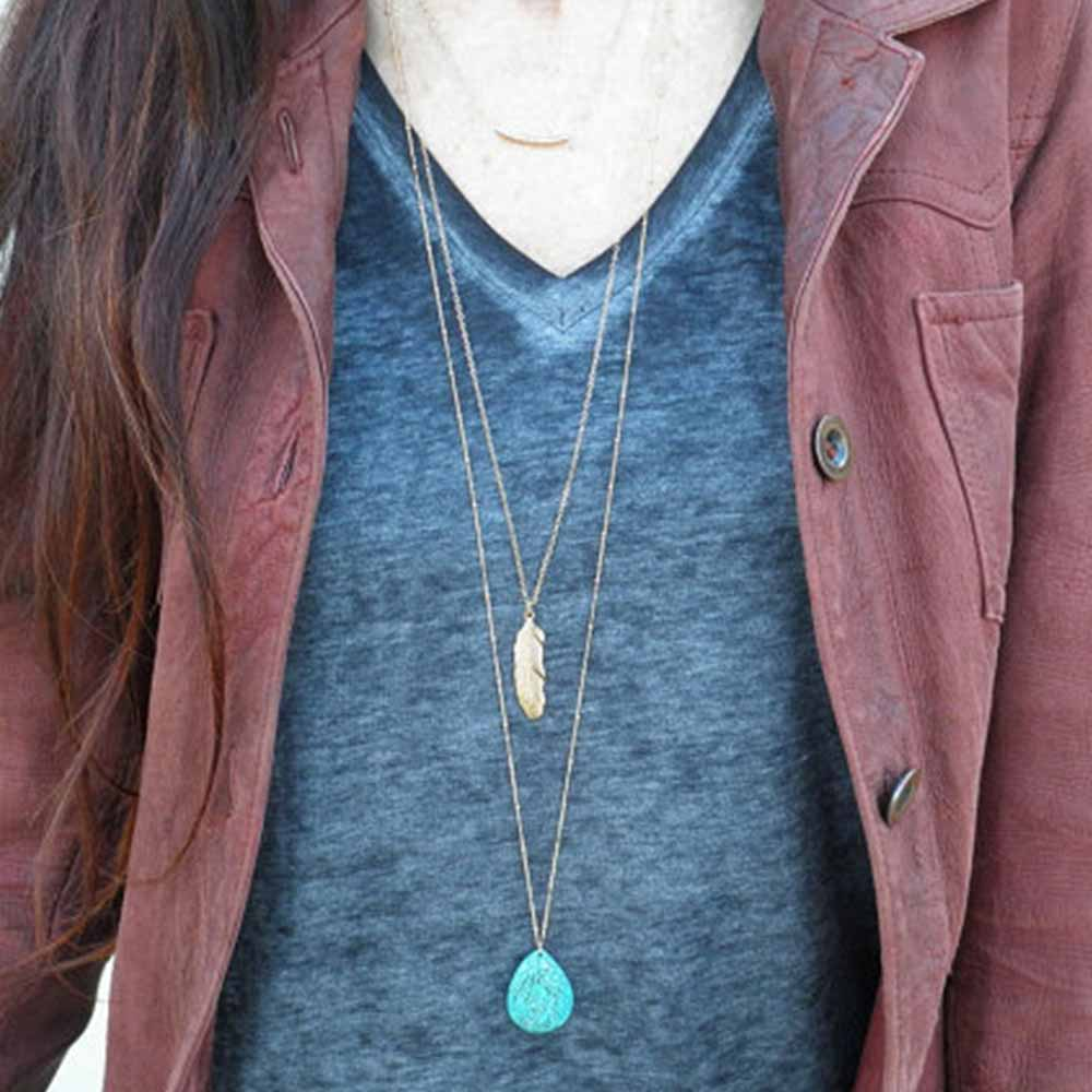 KISSWIFE 1PC Simple Layered Necklace of 3 Drops Blue stone Feather Necklaces Women Clavicle necklace