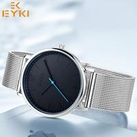 EYKI Simple Design Mesh Band Thin Man Watch Fashion Stylish Luxury Stainless Steel Male Quartz Wristwatches