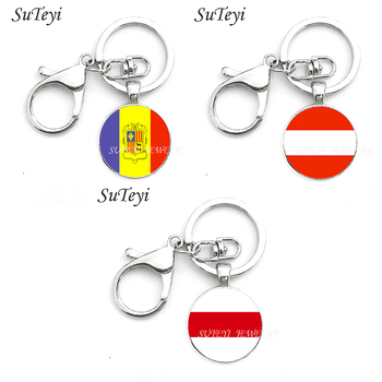 Fashion Jewelry Charm Key Chains Andorra and Austria and Belarus Flag Charm Key Rings Keychains Decorative Gifts image