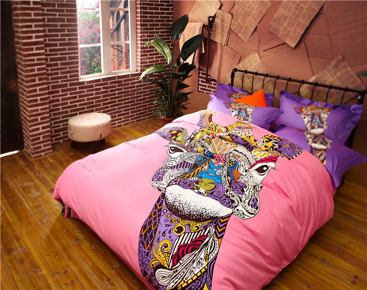 western cartoon cotton bedding sets queen size princess fashion bed cover mattress cover animal personality cat