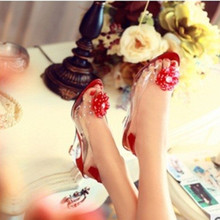 """Lenceria sexy venta caliente del tamaño Grande 34-43 flor de cristal 2.1 """"cuñas Kvoll transparente tacones altos Solos zapatos de Tacón Grueso de Verano Sandalias"""