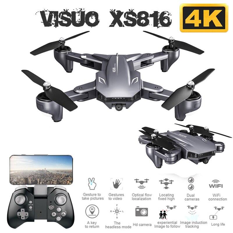 Drone pliable Visuo XS816 avec double caméra 4K WiFi FPV Selfie grand Angle positionnement de flux optique RC quadrirotor hélicoptère jouets