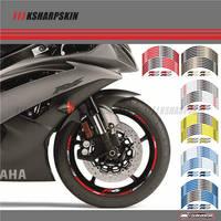12 X Thick Edge Outer Rim Sticker Stripe Wheel Decals FIT YAMAHA YZF R6 YZF1000 YZF R6