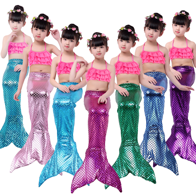 Free shipping 3PCS/SetChildren Mermaid Tail Kids Girls Cosplay Costumes Swimming Mermaid Tail Mermaid Swimsuit Flipper for girls