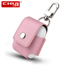 CHYI Portable PU Leather Case Airpods Cover Anti-Lost Protective Carabiner Storage Pouch Bag For Iphone Earphone Charge Sleeve i4 bk 1 protective pu leather case pouch bag for iphone 4 black