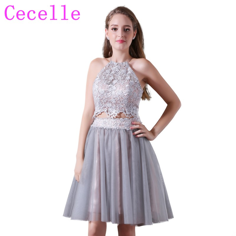Silver 2 Two Pieces Simple Short Juniors Cocktail Dress Lace Top Tulle Skirt Cute Sexy Open Back Teens Informal Cocktail Gowns Weddings & Events