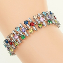 Multicolor Natural stone White Zircon Created jewelry 925 Sterling Silver Jewelry For Women Bangles Cuff Bracelet Free Gift Box