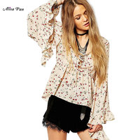 Shirt Alisa Pan AS01086WH Women Lace Up V Neck Long Wide Flounced Sleeve Print Shirt