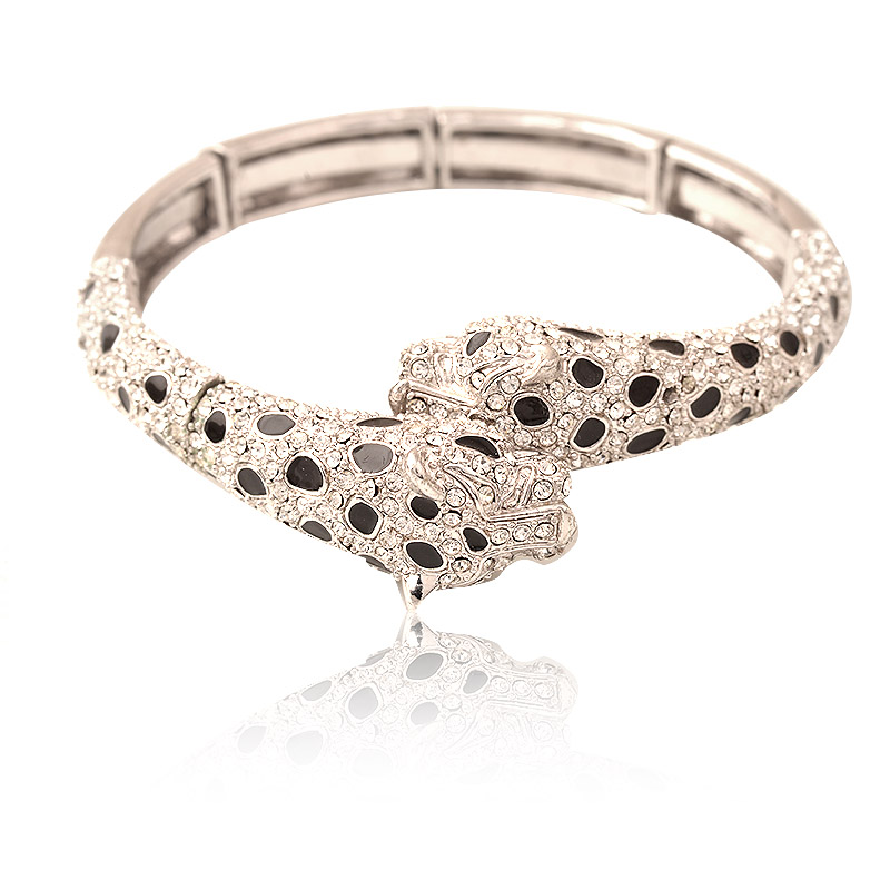 Sexy Wild Crystal Rhinestone Cheetah Cuff Bracelet Bangle Animal Shape Fashion Jewelry For Women bangle