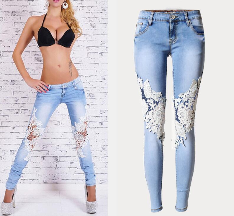 ФОТО High Qualilty Women's Lace Patchwork Jeans Fashion Low Waist High Elastic Skinny Jeans Plus Size