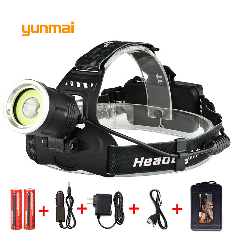 yunmai 10000 lumen Led Headlamp 4 Mode USB Headlight NEW XML T6+COB Waterproof Head Lamp Torch Lantern Fishing Hunting Light 3 xml t6 2 blue light led headlamp 15000lm usb rechargerable led headlight head lamp 5 mode head torch for fishing lantern light