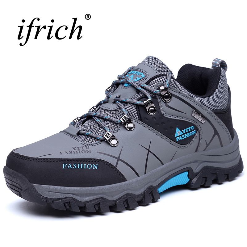 2017 Men Mountain Hiking Shoes Big Size Leather Hunting Boots Autumn Winter Mens Outdoor Sport Shoes Plus Size Climbing Sneakers big size 46 men s winter sneakers plush ankle boots outdoor high top cotton boots hiking shoes men non slip work mountain shoes