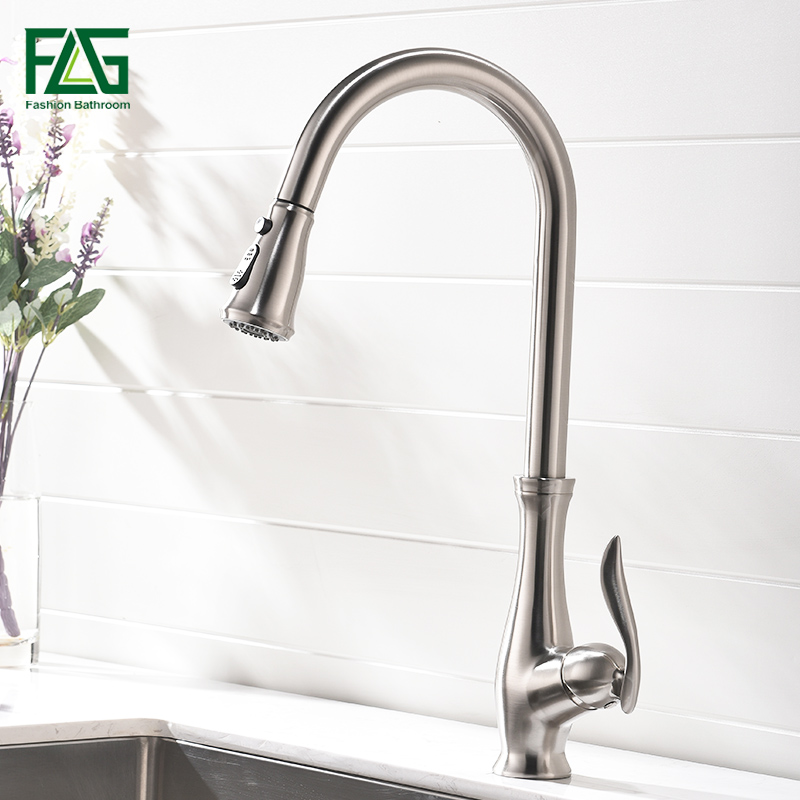 FLG Kitchen Faucet Pull Out Brushed Nickel Sink Mixer Tap Swivel Spout Sink Faucet Swivel Brass Kitchen Faucets tap yanksmart brushed nickel swivel spout kitchen sink faucet pull out spray 8525 3 21 basin brass water tap sink faucet taps