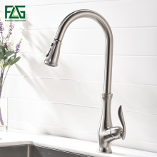 лучшая цена FLG Kitchen Faucet Pull Out Brushed Nickel Sink Mixer Tap Swivel Spout Sink Faucet Swivel Brass Kitchen Faucets tap
