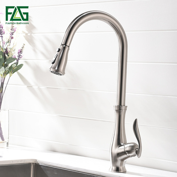 цена на FLG Kitchen Faucet Pull Out Brushed Nickel Sink Mixer Tap Swivel Spout Sink Faucet Swivel Brass Kitchen Faucets tap