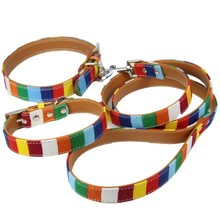(1 collar+1 leash)  S M L XL XXL Leather Dog collar Led Set  Designer Cavas Pu Leather Colorful Plain Pet Dog Collar Leash Set
