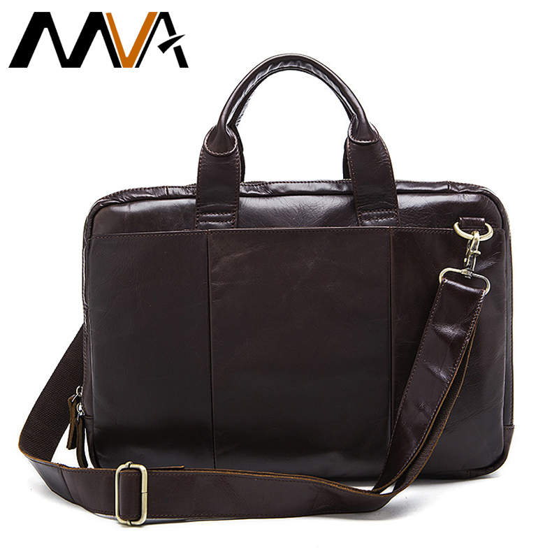 MVA Business Briefcases Men Bags Genuine Leather Bag Oil Leather Messenger Bag for Document Men Shoulder Handbags Laptop Bags college rcollege 369fg