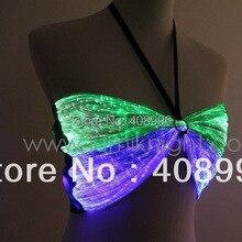Сексуальная волоконно-оптическая ткань светящийся бюстгальтер для клубного представления/костюм со светящейся надписью/одиночное платье/Клубная одежда/DS бюстгальтер