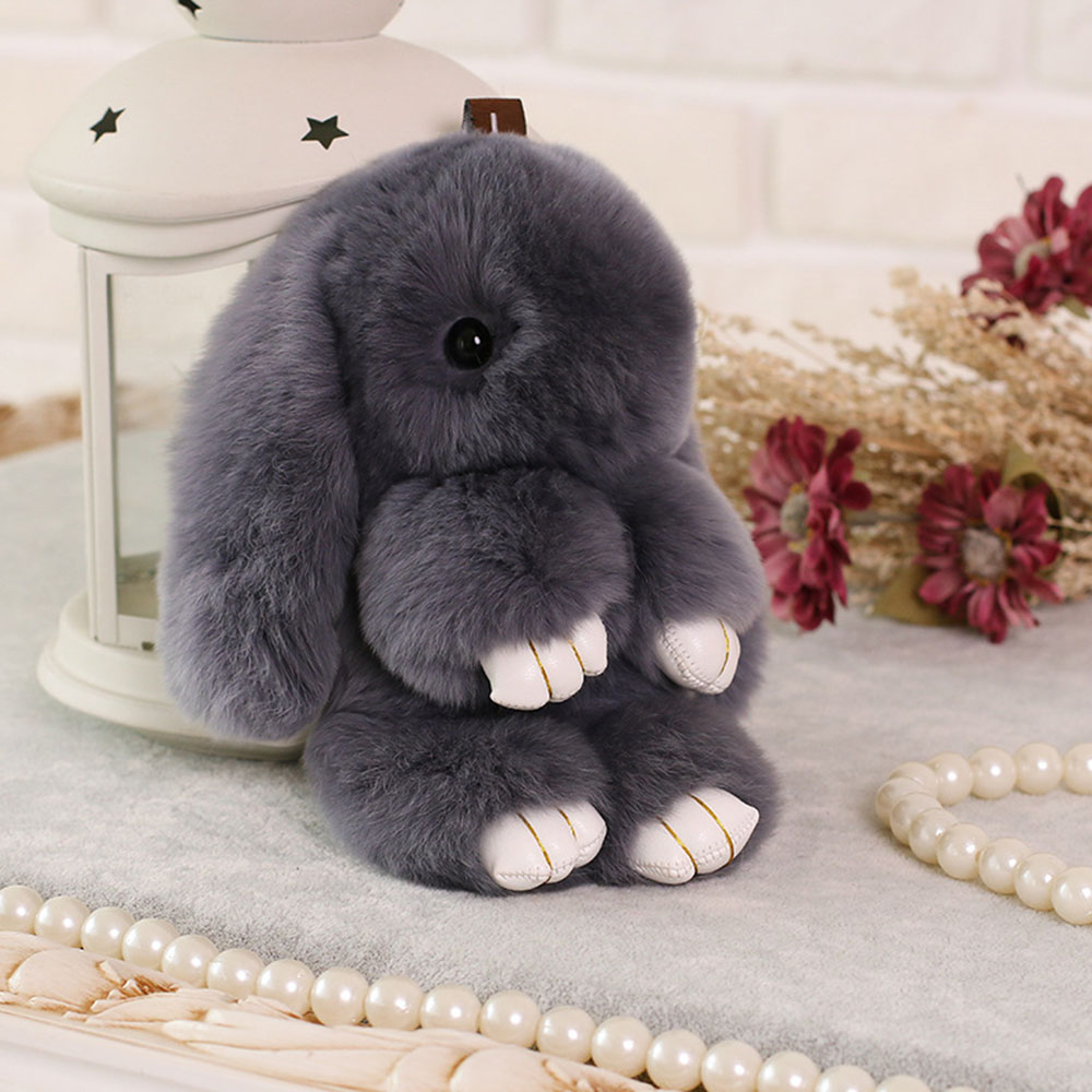 Kawaii 13cm Pluff Bunny Keychain Rex Genuine Rabbit Fur Key Chains For Women Bag Toys Doll Fluffy Pom Pom Lovely Pompom Keyring wholesale cheap new cute fluffy keychain faux rabbit fur ball key chains bag backpacks charms trinket car key ring accessories