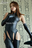 2015 One Outfit Women Sexy Leather Bodysuit Bondage Lingerie Jumpsuit Open Butt Long Gloves Latex Catsuit