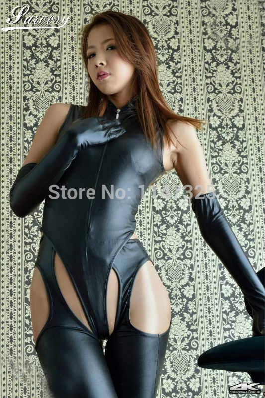 Ropa interior Sexy de marca para mujer ropa interior erótica Bodi entrepierna abierta con guantes largos Catsuit Stripper látex Faux PU cuero