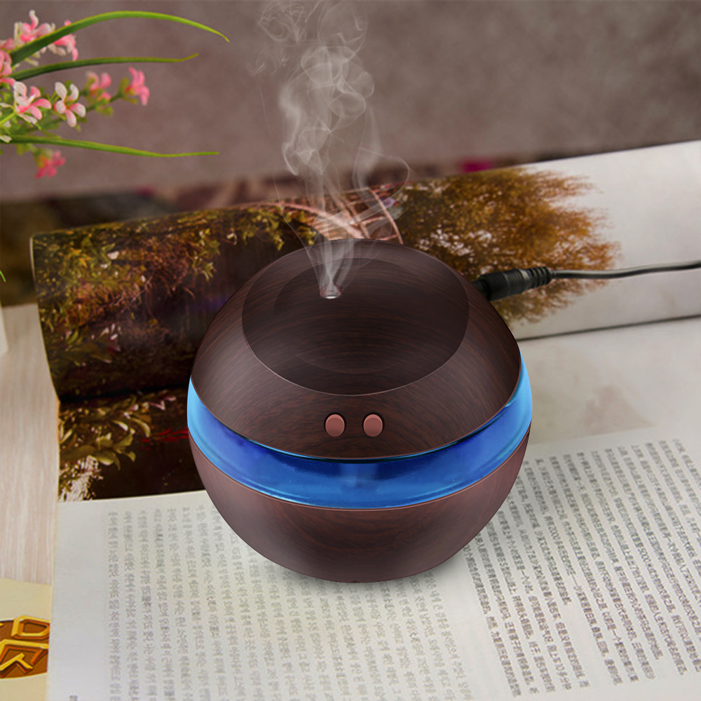 USB Ultrasonic Humidifier 300ml Aroma Diffuser Essential Oil Diffuser Aromatherapy mist maker with Blue LED Light (Dark wood)