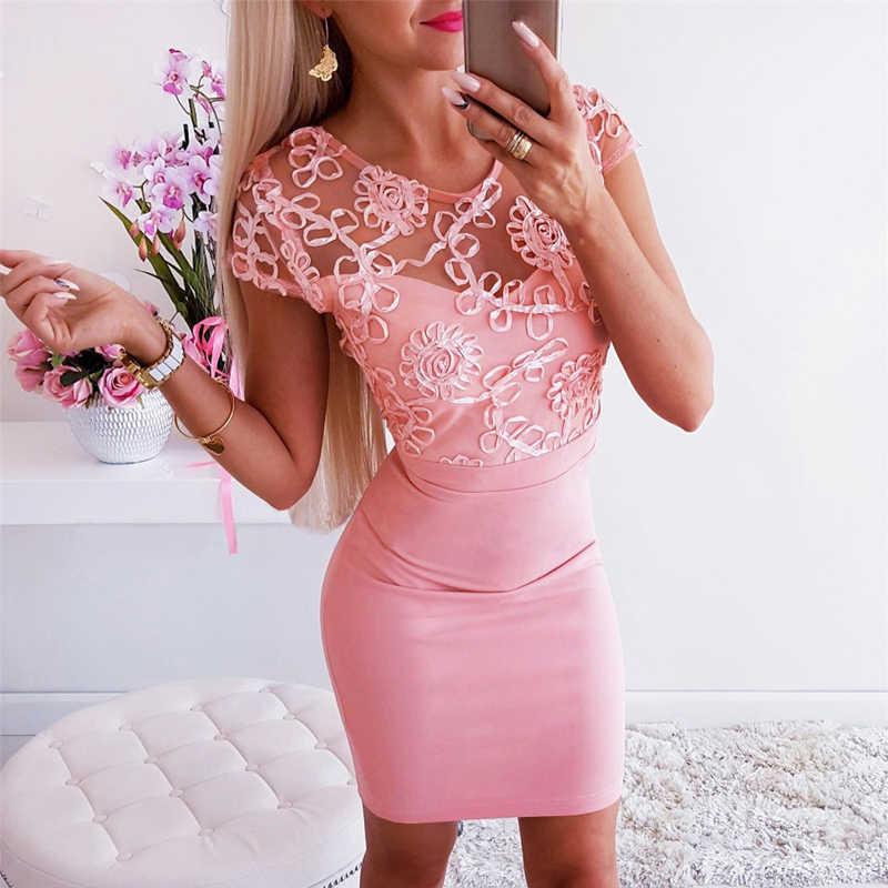 Women Bodycon Dress Lace Decor See Through Short Sleeve O-Neck Solid Color Mini Dress Zipper Decor Ladies Summer Party Dress