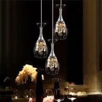 Modern Minimalist Wine Glass Pendant Lights Led Lustre Pendente Scandinavian Home Loft Deco Hanging lamp Crystal Bar Kitchen