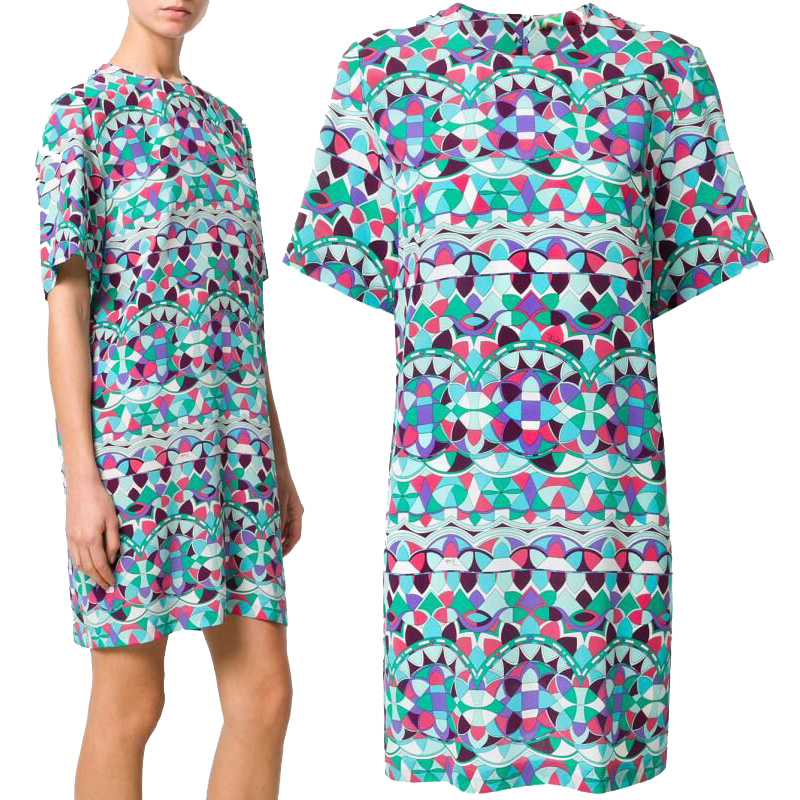 New women s fashion print short sleeves fashion show elastic slim silk jersey dress