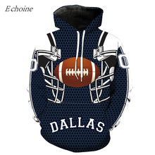 Echoine 2017 New American Football Hoodies Dallas Print Men's Excercise Sweaters High Quality Hooded Sweatshirts Sports Garment