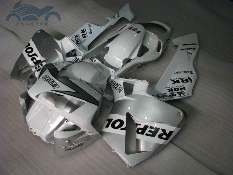 Kit de carpe dinjection plastique ABS   Adapté à Honda CBR600RR 2003-2004 CBR 600RR 03-04 kits de carpe de rechange, argent blanc DV65