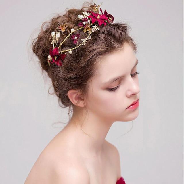Fashion Wedding Hair Jewelry for Bride Red Flower Pearl Hair Accessories Hairband Toast Dress Accessories Bridal Tiara Headband