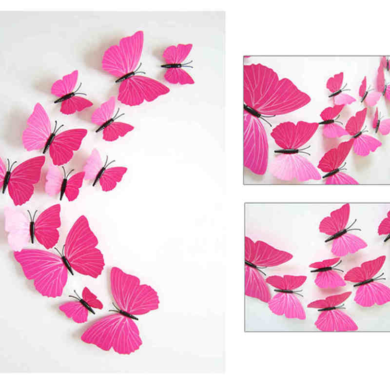 12PCS/Lot PVC 3D Modern Butterfly Stickers Wall Home Wedding Decor Accessories For Kitchen Kids Bedroom Decor Y40